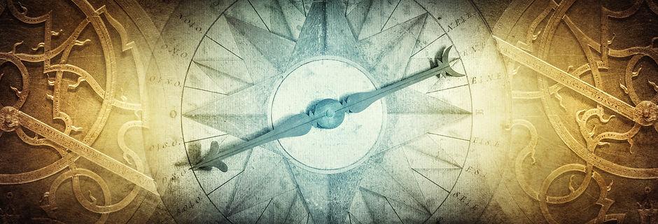 Ancient navigation instruments on vintag
