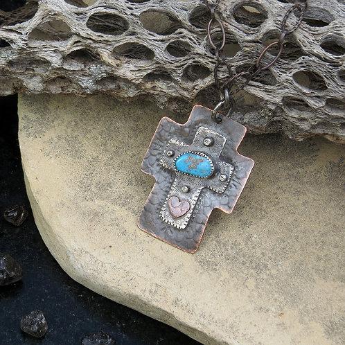Turquoise Southwest-style Cross