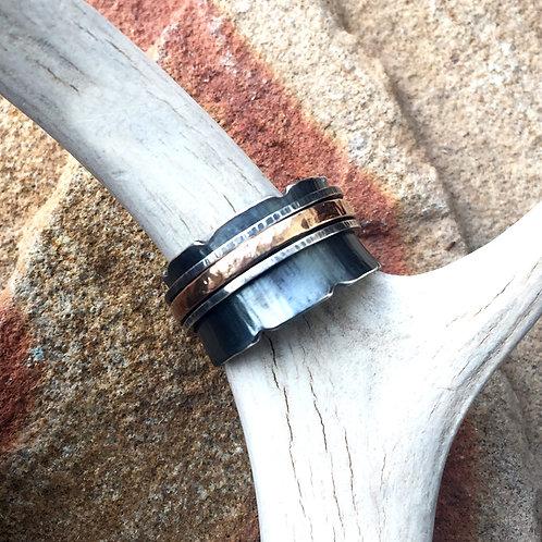 Sterling Silver & Rose Gold Spinner Ring