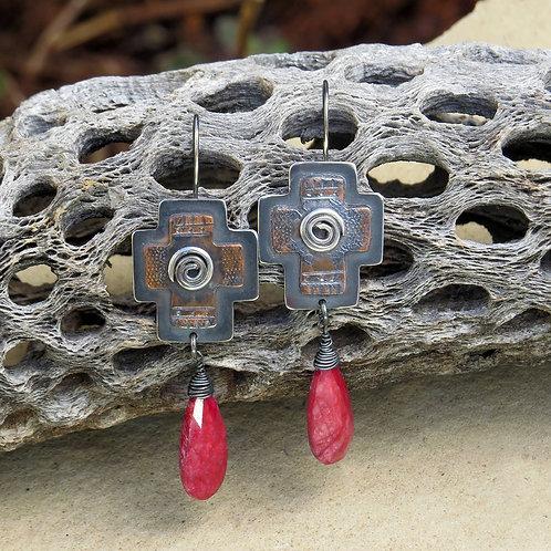 Ruby Cross Earrings