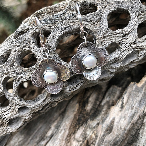 Four Petal Pearl Earrings