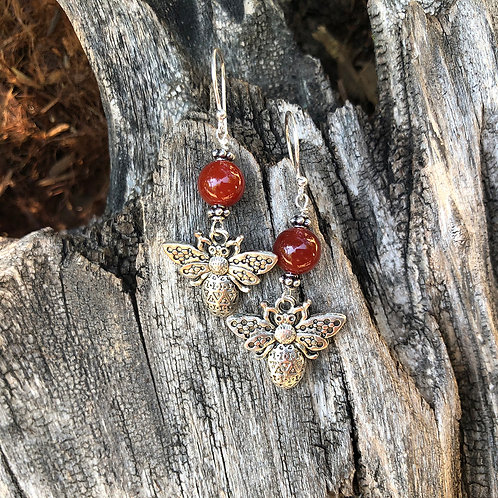 Carnelian Bee Earrings