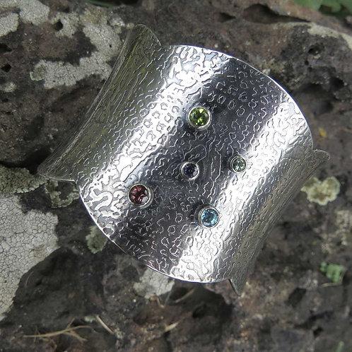 Multi-stone Scalloped Cuff