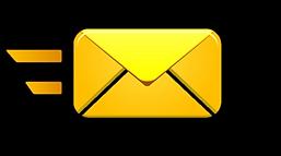 correo electronico amarillo fondo negro.