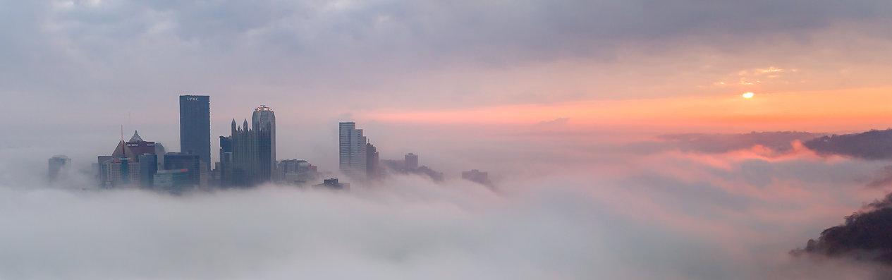 Panoramic photo of downtown Pittsburgh