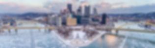 Drone Photo of sixth street bridge in Pittsburgh