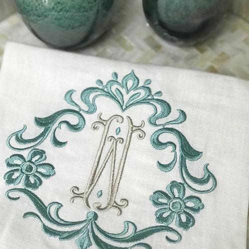 Flower & Scroll Washed Linen Towel