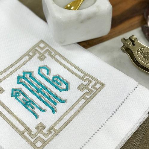 Greek Key Linen Towel