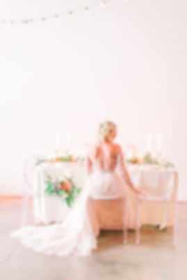 blush wedding table inspiration with bride