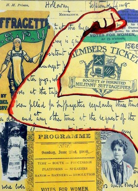 ARTWORK - 'INTERNATIONAL WOMEN'S DAY'_'Women's Arts Association' 'Suffragettes - Holloway Prison' Exhibition - showing at - Arts Central Gal