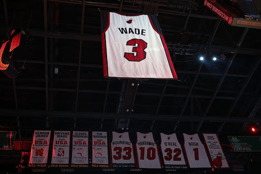 On Feb. 23, the Miami Heat raised Dwyane Wade's number 3 jersey into the rafters of the AAA (American Airlines Arena) in Miami, FL.  Wade's jersey hanging from the AAA (Michael Reaves/Getty Images)
