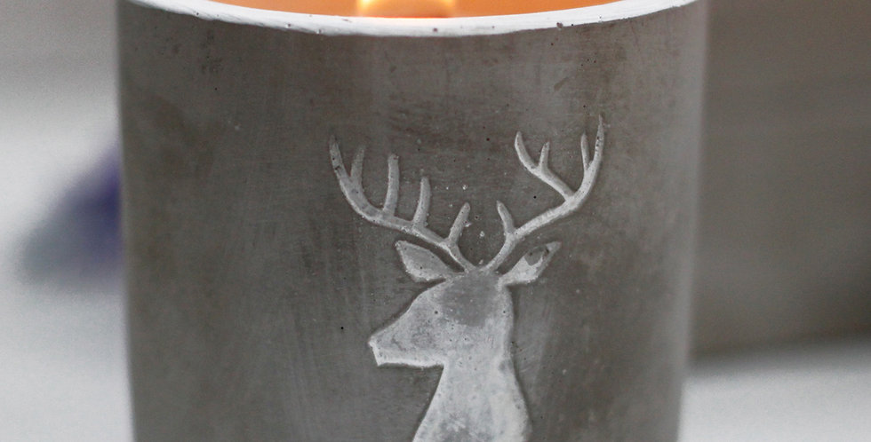 Stag Head Wooden Wick Candle