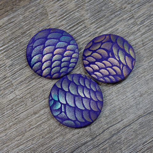 Purple Scale Leather Covered buttons L45