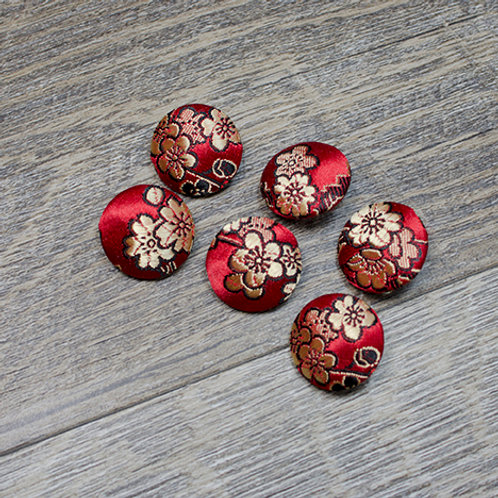 Red Floral Brocade Covered buttons L30