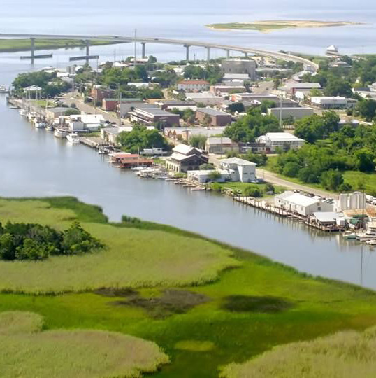 An aerial view of Apalachicola FL
