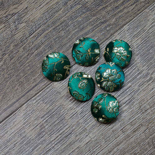 Teal Floral Brocade Covered buttons L30