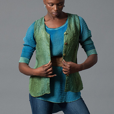 Patch Dyed Silk Vest and Tunic Circa 2017