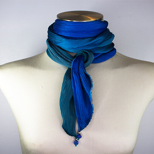 Ocean  Pleated Scarf (One-of-a-kind)