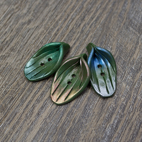 Large Oval Polymer Leaf Buttons