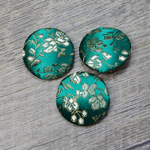Teal Floral Brocade Covered Buttons L45