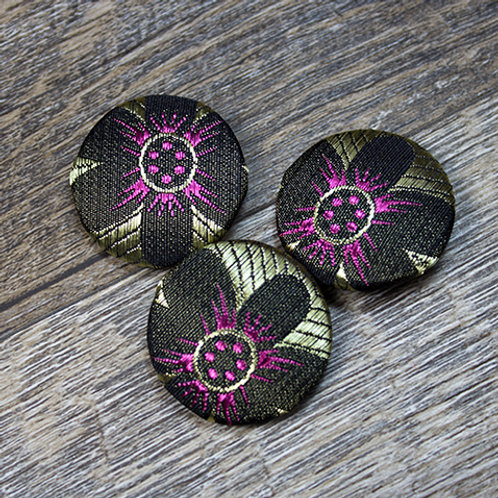 Black Flower Brocade Covered Buttons L45