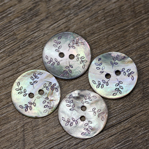Dyed Lavender Leaf Shell Buttons L36