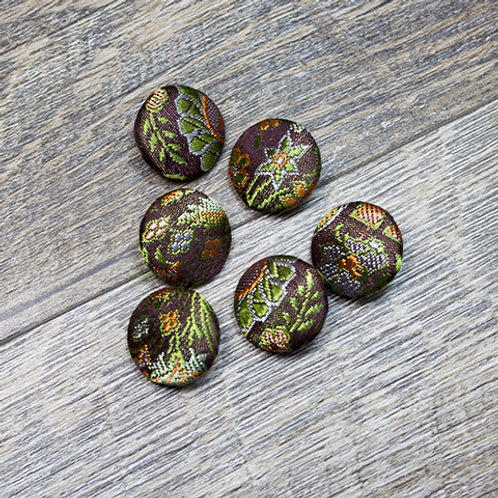 Brown Floral Brocade Covered buttons L30