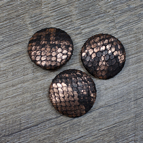 Black & Copper Leather Covered buttons L45