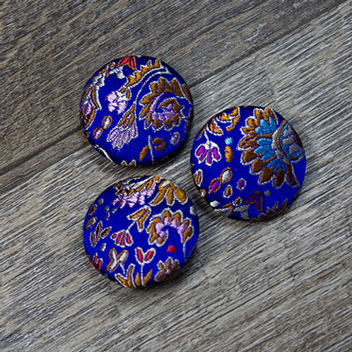 Blue Floral Brocade Covered buttons L45