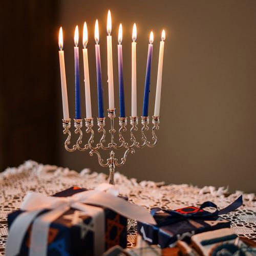 A Fully Lit Hanukkah Menorah