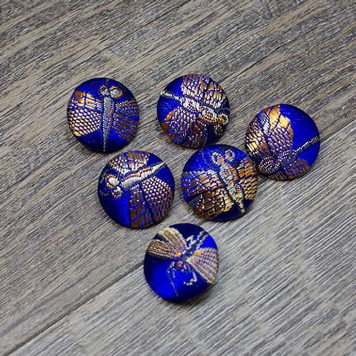 Blue/Gold Dragonfly Brocade Buttons L30