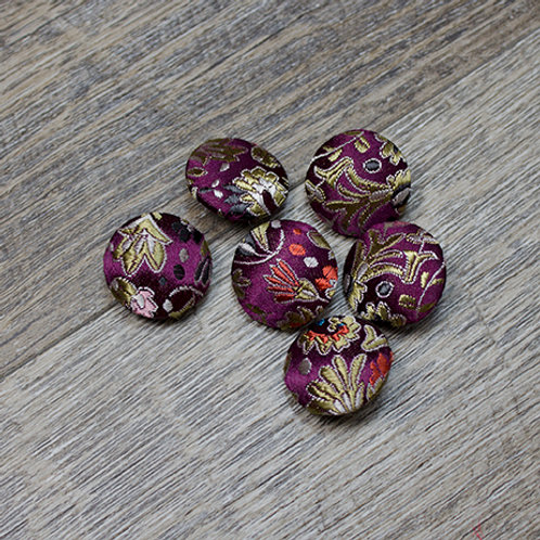 Purple Floral Brocade Covered buttons L30