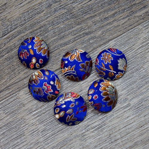 Blue Floral Brocade Covered buttons L30