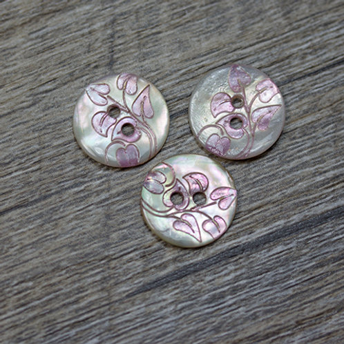 Dyed Pale Pink Leaf Shell Buttons L22