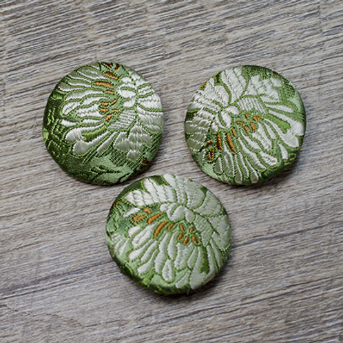 Green Floral Brocade Covered buttons L45