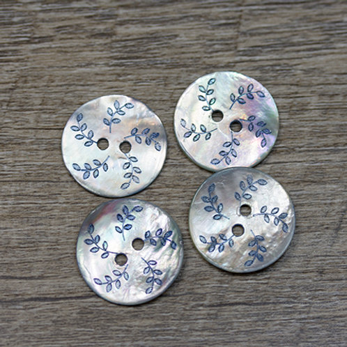 Dyed Blue Leaf Shell Buttons L36