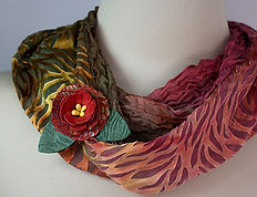 Tourmaline Cowl and Red Cottage Rose .jp