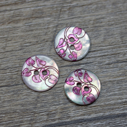Dyed Fuchsia Leaf Shell Buttons L22