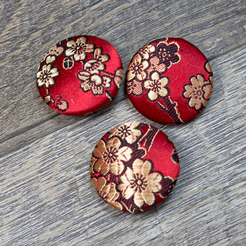 Red Floral Brocade Covered Buttons L45