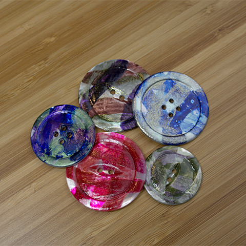 Group of Painted Shell Buttons