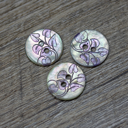 Dyed Lavender Leaf Shell Buttons L22