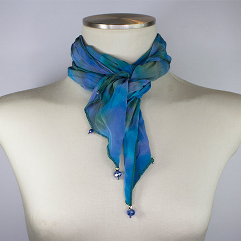 Macaw Crepe de Chine Pleated Scarf