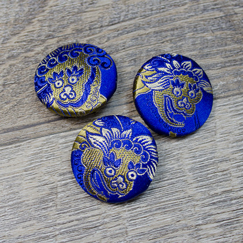 Blue Foo Dog Brocade Covered Buttons L45
