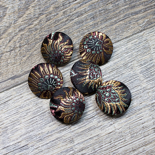 Black Floral Brocade Covered buttons L30