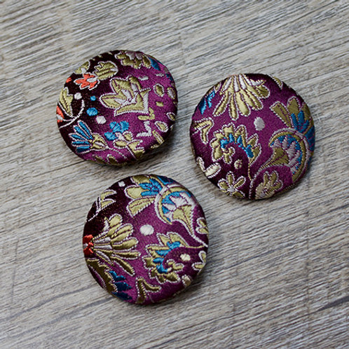Purple Floral Brocade Covered buttons L45