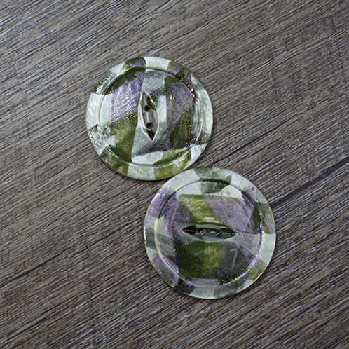 Hand-Painted Green Antique Shell Buttons L60