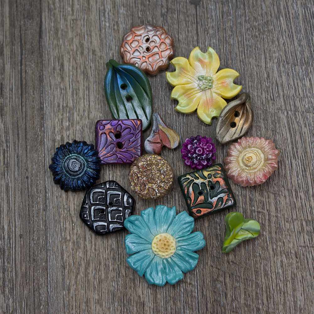 Group of polymer buttons.