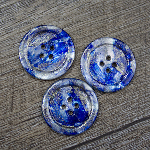 Hand-Painted Blue & Silver Antique Shell Buttons L45