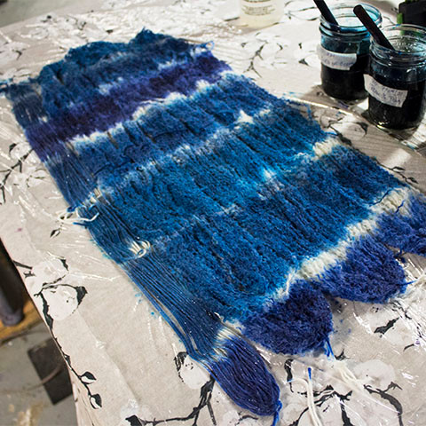 Painting Wool Yarn Blue and Turquoise
