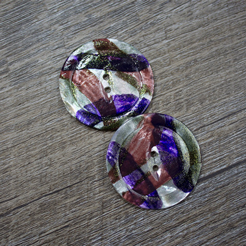 Hand-Painted Autumn Antique Shell Buttons L60